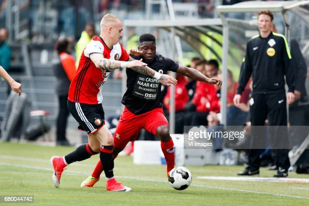 Rick Karsdorp of Feyenoord Nigel Hasselbaink of Excelsiorduring the Dutch Eredivisie match between sbv Excelsior Rotterdam and Feyenoord Rotterdam at...