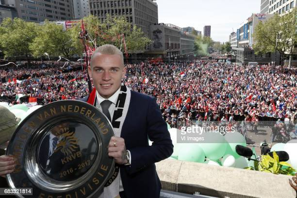 Rick Karsdorp of Feyenoord with the tropheeduring Feyenoord Rotterdam honored Eredivisie champions at the Coolsingel on May 15 2017 in Rotterdam The...