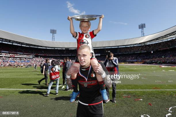 Rick Karsdorp of Feyenoord with trophee and the son of Dirk Kuytduring the Dutch Eredivisie match between Feyenoord Rotterdam and Heracles Almelo at...