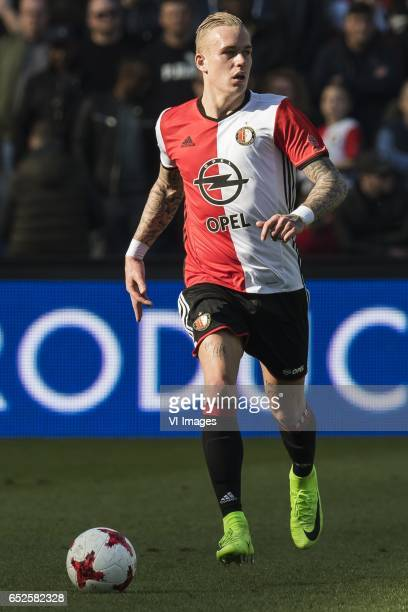 Rick Karsdorp of Feyenoordduring the Dutch Eredivisie match between Feyenoord Rotterdam and AZ Alkmaar at the Kuip on March 12 2017 in Rotterdam The...