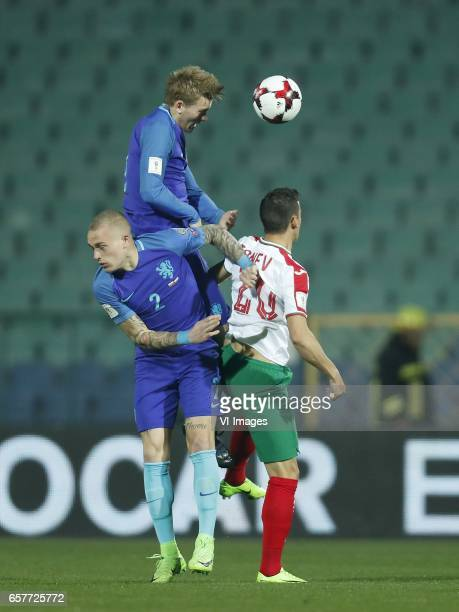 Rick Karsdorp of Holland Matthijs de Ligt of Holland Aleksandar Tonev of Bulgariaduring the FIFA World Cup 2018 qualifying match between Bulgaria and...