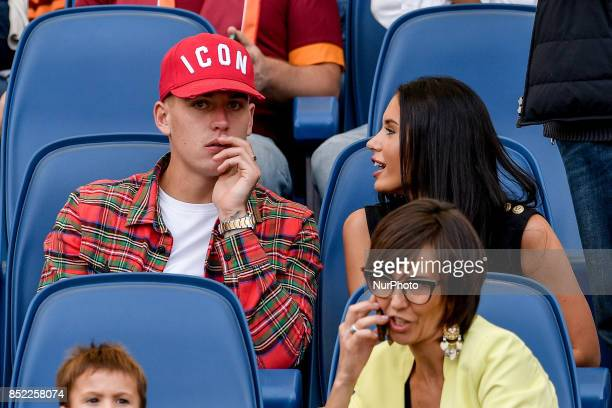 Rick Karsdorp of Roma and his girlfriend Astrid Lentini during the Serie A match between Roma and Udinese at Olympic Stadium Roma Italy on 23...