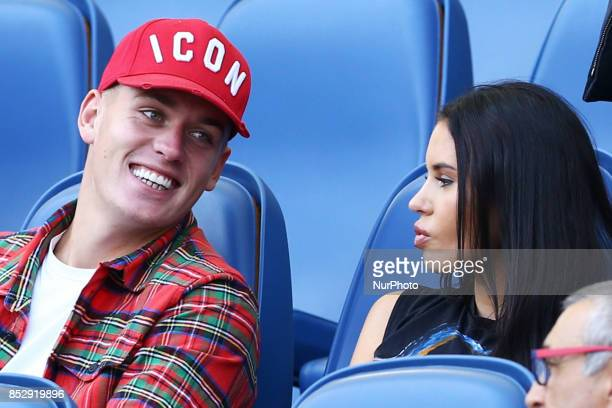 Rick Karsdorp of Roma on the tribune with the girlfriend Astrid Bella during the Italian Serie A football match AS Roma vs Udinese on September 23...