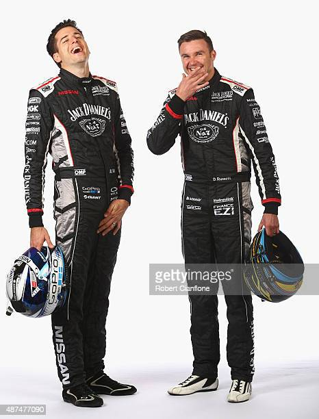 Rick Kelly and David Russell of Nissan Motorsport laugh during the 2015 V8 Supercars Enduro pairing portrait session at Sandown International Motor...