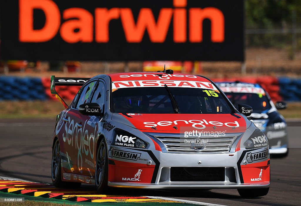 Rick Kelly drives the Nissan Motorsport Nissan Altima during V8 Supercars practice ahead of the Darwin Triple Crown at Hidden Valley Raceway on June...