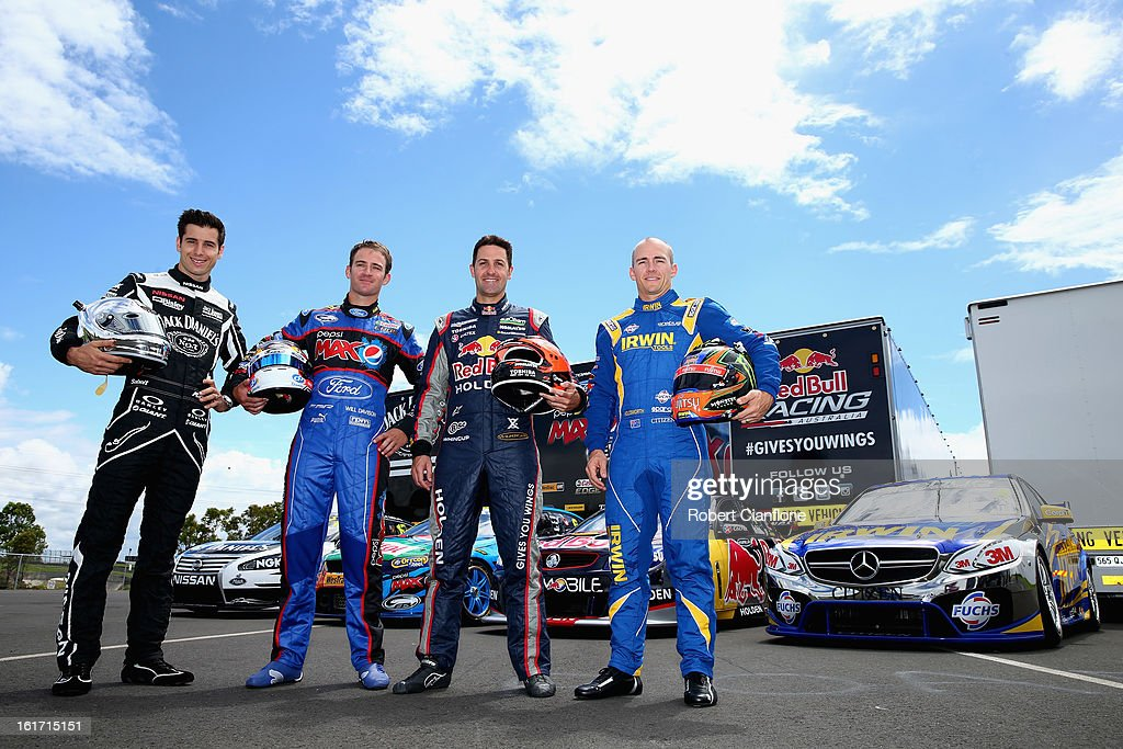 Rick Kelly of Kelly Racing, Will Davison of Ford Performance Racing, Jamie Whincup of Red Bull Racing Australia and Lee Holdsworth of Erebus Motorsport V8 pose during a V8 Supercars driver portrait session at Eastern Creek Raceway on February 15, 2013 in Sydney, Australia.