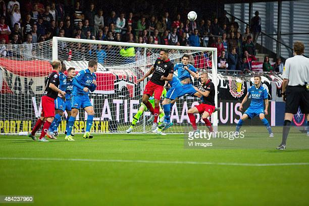 Rick Kruys of Excelsior Mattias Johansson of AZ Vincent Janssen of AZ Adil Auassar of Excelsior goalkeeper Sergio Rochet of AZ Jop van der Linden of...