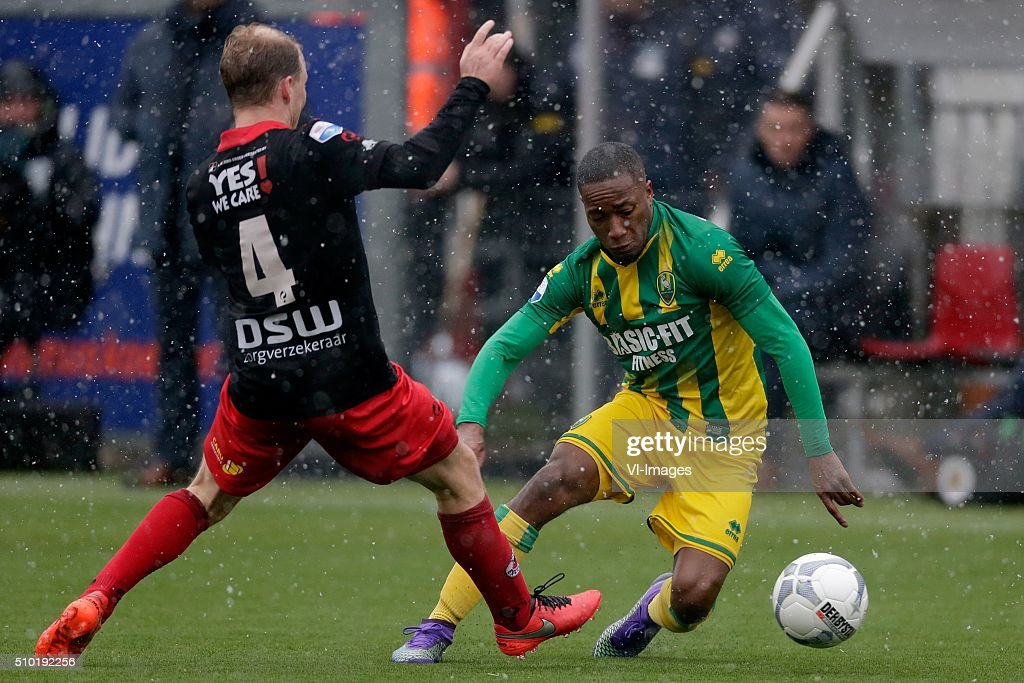 Rick Kruys of Excelsior Rotterdam, Ludcinio Marengo of ADO Den Haag during the Dutch Eredivisie match between Excelsior Rotterdam and ADO Den Haag at Woudenstein stadium on February 14, 2016 in Rotterdam, The Netherlands