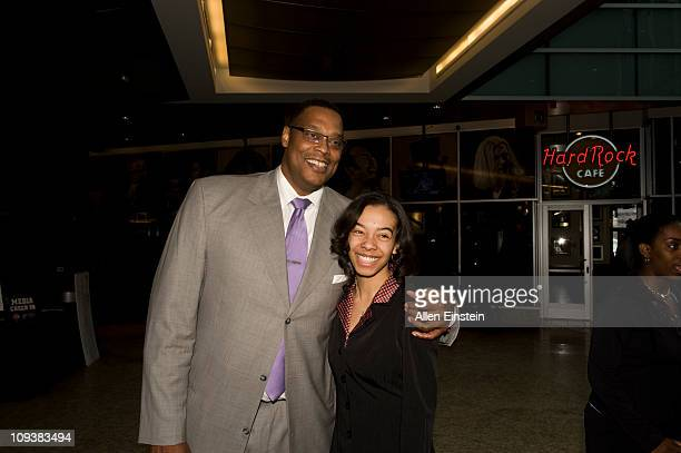 Rick Mahorn Detroit Piston legend poses with first place scholarship winner Krystal Holmes from Southfield Lathrup High School during at the Detroit...