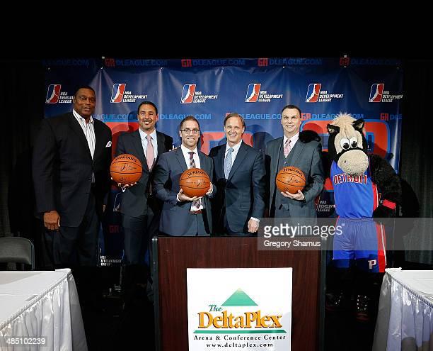 Rick Mahorn former NBA player and Detroit Pistons broadcaster Dan Reed NBA DLeague president Steve Jbara NBAD League ownership group in Grand Rapids...
