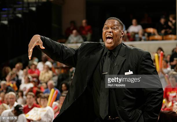 Rick Mahorn head coach of the Detroit Shock directs his team as they took on the Indiana Fever during Game 2 of the Eastern Conference Finals at...