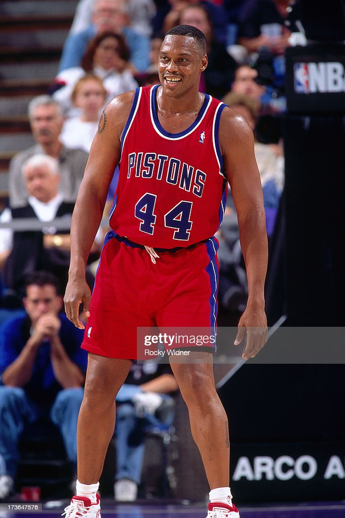 Rick Mahorn of the Detroit Pistons looks on against the Sacramento Kings during a preseason game played on October 17 1996 at Arco Arena in...
