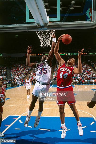 Rick Mahorn of the Philadelphia 76ers rebounds against the Sacramento Kings on February 14 1991 at Arco Arena in Sacramento California NOTE TO USER...