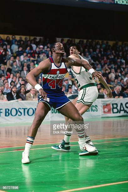 Rick Mahorn of the Washington Bullets boxes out against Kevin McHale of the Boston Celtics during a game played in 1984 at the Boston Garden in...