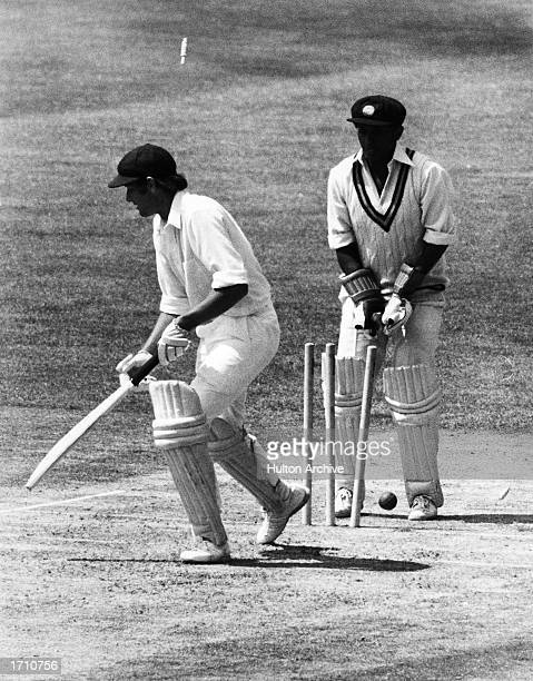 Rick McCosker of Australia is bowled out for 73 during the Prudential World Cup match between Australia and Sri Lanka held at the Kennington Oval...