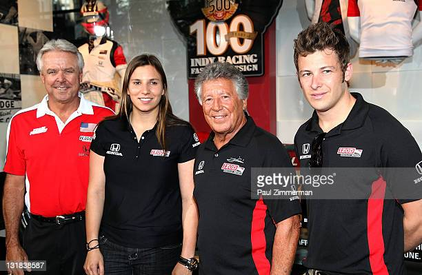 Rick Mears Simona De Silvestro Mario Andretti and Marco Andretti visit Macy's Herald Square on May 11 2011 in New York City
