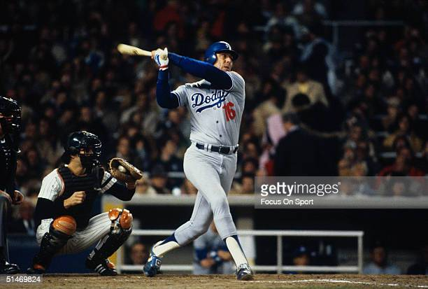 Rick Monday of the Los Angeles Dodgers bats against the New York Yankees during the World Series at Yankee Stadium in Bronx New York in October of...