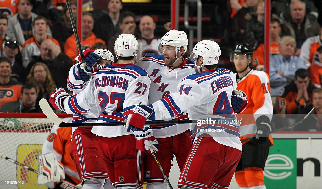 Rick Nash Carl Hagelin Ryan McDonagh and Steve Eminger of the New York Rangers celebrate Nash's first period goal against the Philadelphia Flyers on...
