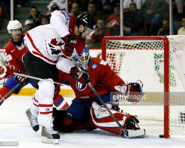 Rick Nash of Canada scores the go ahead goal on Pal Grotnes of Norway during the IIHF World Ice Hockey Championship qualification round at the...