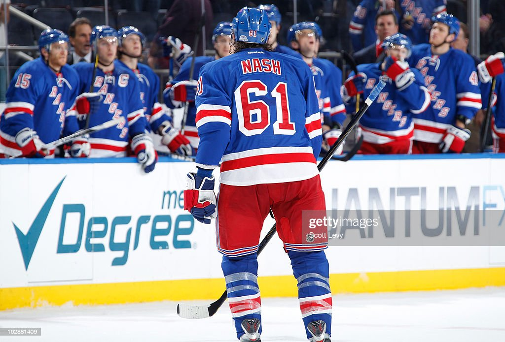 <a gi-track='captionPersonalityLinkClicked' href=/galleries/search?phrase=Rick+Nash&family=editorial&specificpeople=202196 ng-click='$event.stopPropagation()'>Rick Nash</a> #61 of the New York Rangers celebrates his goal against the Tampa Bay Lightning at Madison Square Garden on February 28, 2013 in New York City. The Rangers defeat the Lightning 4-1.