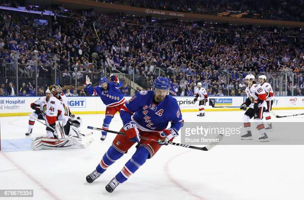 Rick Nash of the New York Rangers celebrates his goal against the Ottawa Senators at 1221 of the second period in Game Three of the Eastern...