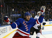 Rick Nash of the New York Rangers celebrates his goal at 1920 of the second period against the San Jose Sharks at Madison Square Garden on October 19...