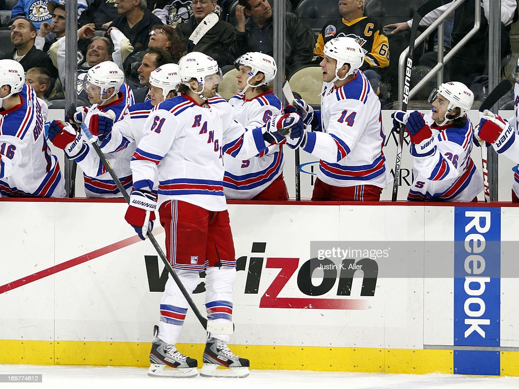 <a gi-track='captionPersonalityLinkClicked' href=/galleries/search?phrase=Rick+Nash&family=editorial&specificpeople=202196 ng-click='$event.stopPropagation()'>Rick Nash</a> #61 of the New York Rangers celebrates his third period goal against the Pittsburgh Penguins during the game at Consol Energy Center on April 5, 2013 in Pittsburgh, Pennsylvania. The Penguins defeated the Rangers 2-1 in a shootout.