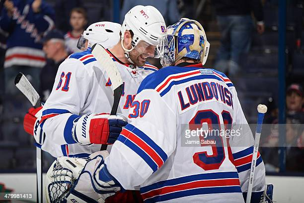 Rick Nash of the New York Rangers celebrates with goaltender Henrik Lundqvist of the New York Rangers after defeating the Columbus Blue Jackets 31 on...