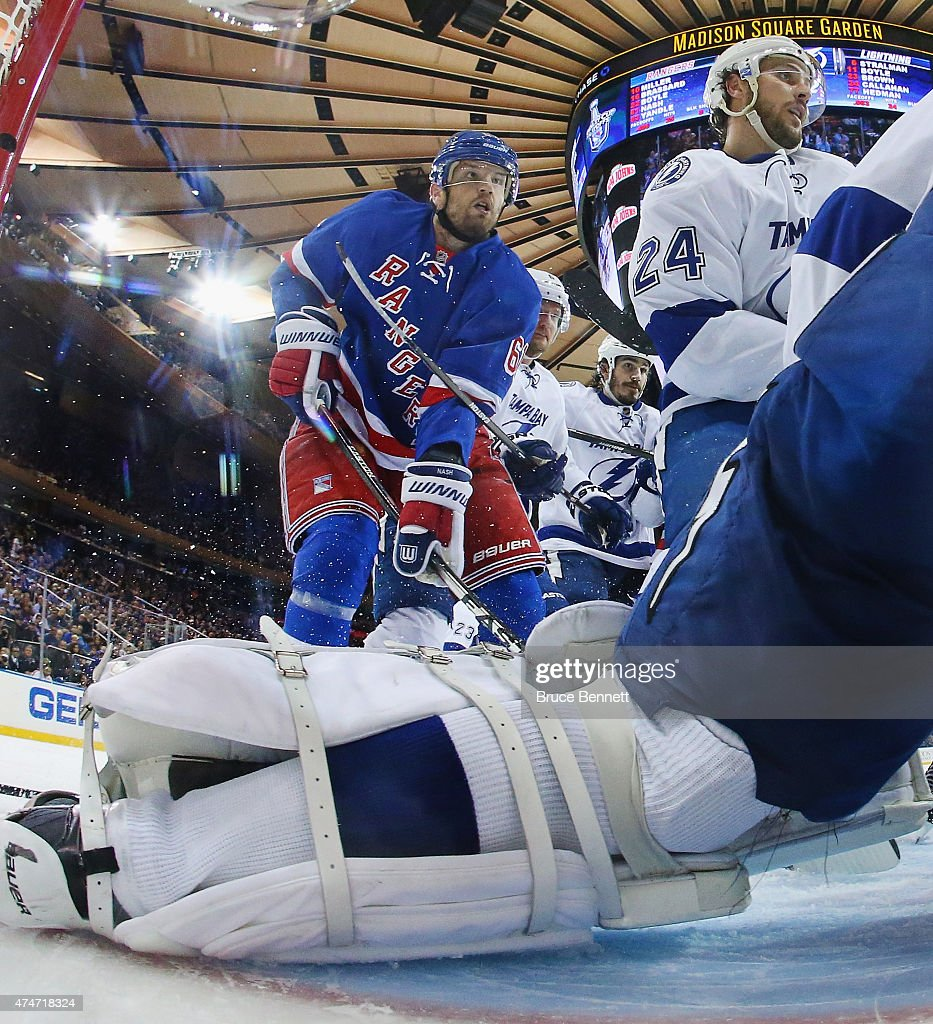 <a gi-track='captionPersonalityLinkClicked' href=/galleries/search?phrase=Rick+Nash&family=editorial&specificpeople=202196 ng-click='$event.stopPropagation()'>Rick Nash</a> #61 of the New York Rangers skates against the Tampa Bay Lightning in Game Five of the Eastern Conference Finals during the 2015 NHL Stanley Cup Playoffs at Madison Square Garden on May 24, 2015 in New York City. The Lightning shutout teh Rangers 2-0.