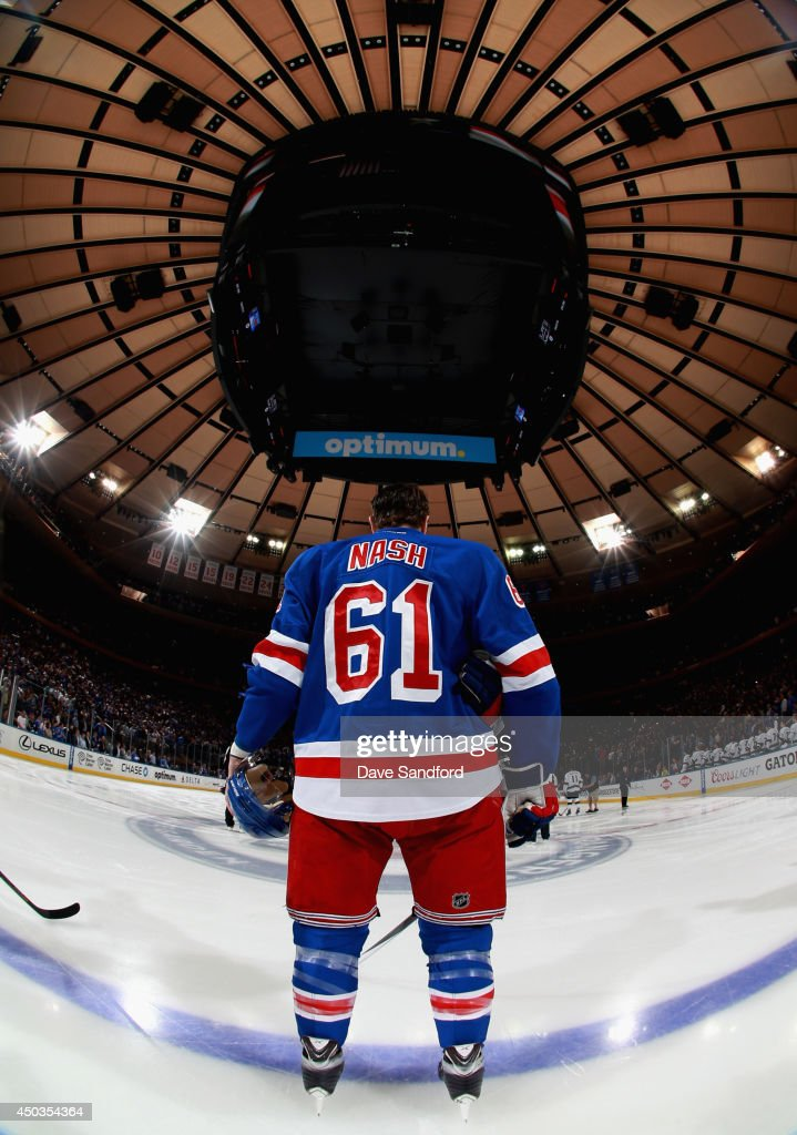 <a gi-track='captionPersonalityLinkClicked' href=/galleries/search?phrase=Rick+Nash&family=editorial&specificpeople=202196 ng-click='$event.stopPropagation()'>Rick Nash</a> #61 of the New York Rangers stands on the ice before taking on the Los Angeles Kings in Game Three of the 2014 Stanley Cup Final at Madison Square Garden on June 9, 2014 in New York City.