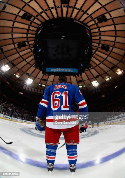 Rick Nash of the New York Rangers stands on the ice before taking on the Los Angeles Kings in Game Three of the 2014 Stanley Cup Final at Madison...
