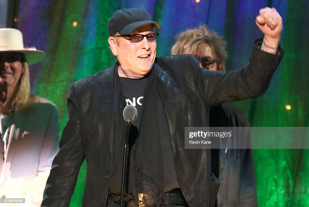 Rick Nielsen of Cheap Trick onstage at the 31st Annual Rock And Roll Hall Of Fame Induction Ceremony at Barclays Center of Brooklyn on April 8, 2016 in New York City.