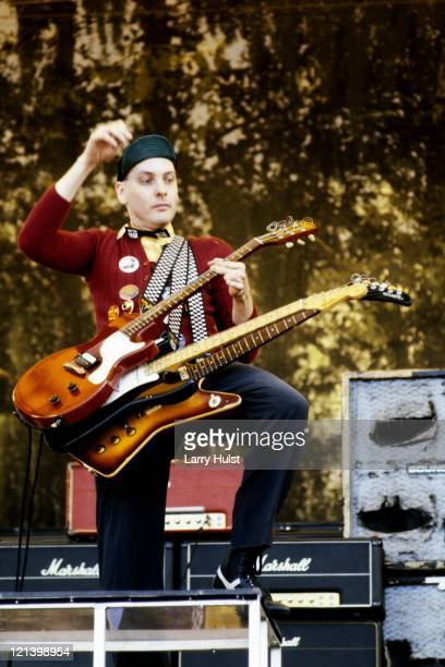 Rick Nielsen performing with 'Cheap Trick' at the Oakland Coliseum in California on July 27 1980