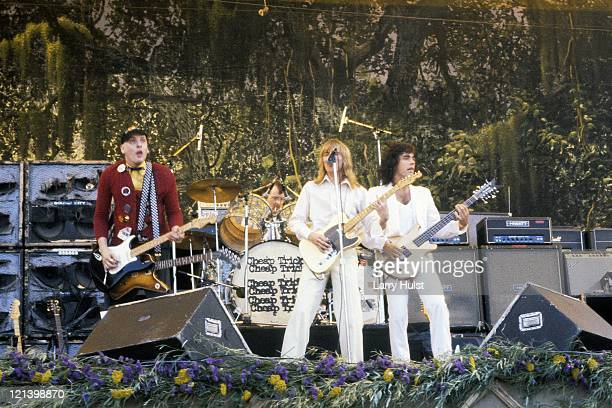 Rick Nielsen Robin Zander Tom Petersson and Bun E Carlos performing as 'Cheap Trick' at the Oakland Coliseum in California on July 27 1980