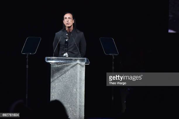 Rick Owens accepts the Geoffrey Beene Lifetime Achievement Award onstage during the 2017 CFDA Fashion Awards at Hammerstein Ballroom on June 5 2017...