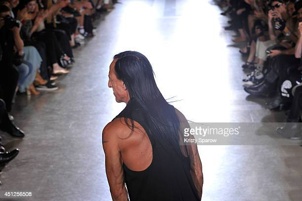 Rick Owens acknowledges the audience during the Rick Owens show as part of Paris Fashion Week Menswear Spring/Summer 2015 on June 26 2014 in Paris...