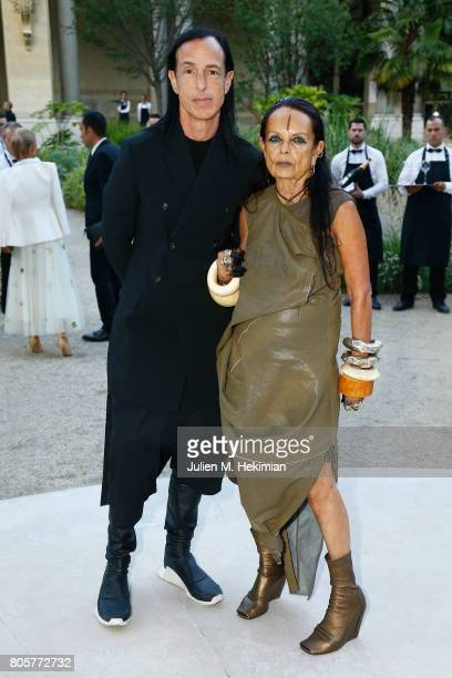 Rick Owens and Michele Lamy attend the amfAR Paris Dinner 2017 at Le Petit Palais on July 2 2017 in Paris France