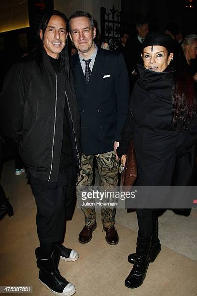 Rick Owens Dries Van Notten and Michele Lamy attend the Dries Van Notten Exhibition as part of the Paris Fashion Week Womenswear Fall/Winter 20142015...