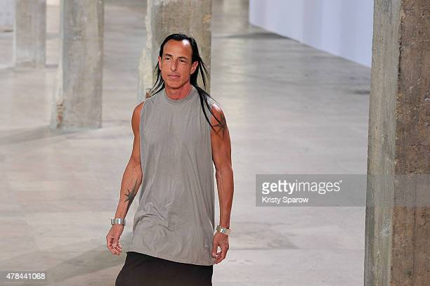 Rick Owens greets the audience during the Rick Owens Menswear Spring/Summer 2016 show as part of Paris Fashion Week at Palais de Tokyo on June 25...