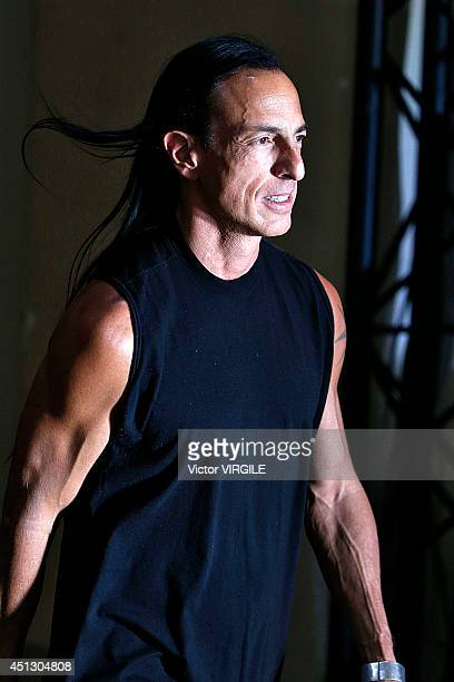 Rick Owens walks the runway during the Rick Owens show as part of Paris Fashion Week Menswear Spring/Summer 2015 on June 26 2014 in Paris France