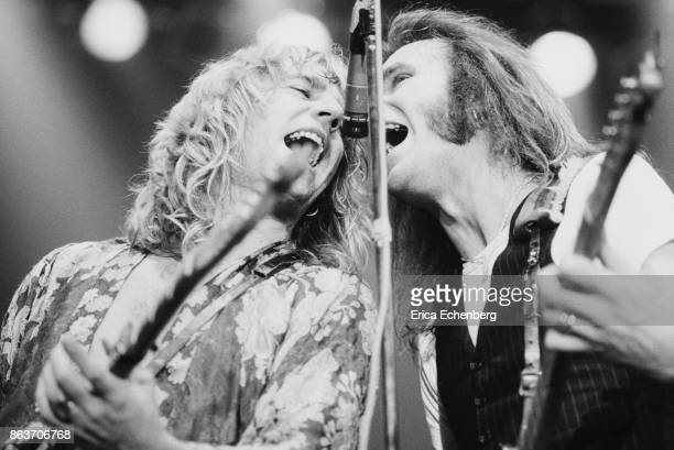 Rick Parfitt and Francis Rossi of Status Quo perform on stage at Bingley Hall Stafford January 9th 1977