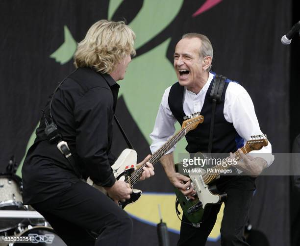 Rick Parfitt and Francis Rossi of Status Quo performing during the 2009 Glastonbury Festival at Worthy Farm in Pilton Somerset