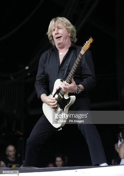 Rick Parfitt of Status Quo performing during the 2009 Glastonbury Festival at Worthy Farm in Pilton Somerset