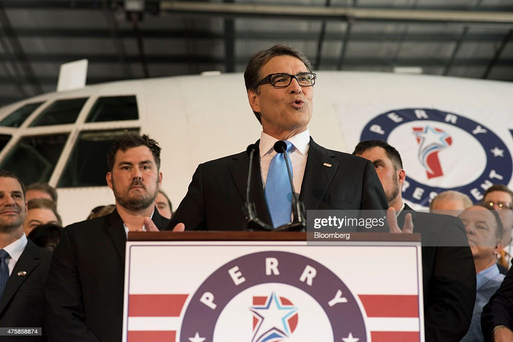 Rick Perry former governor of Texas speaks during an event to formally announce his presidential campaign in a hangar at Addison Airport in Addison...