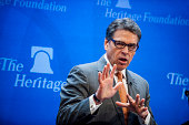 Rick Perry governor of Texas gives a speech on immigration at The Heritage Foundation in Washington DC US on Thursday Aug 21 2014 'Defending the...