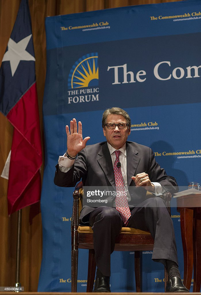 Rick Perry governor of Texas speaks at the Commonwealth Club of California in San Francisco California US on Wednesday June 11 2014 Perry's speech...