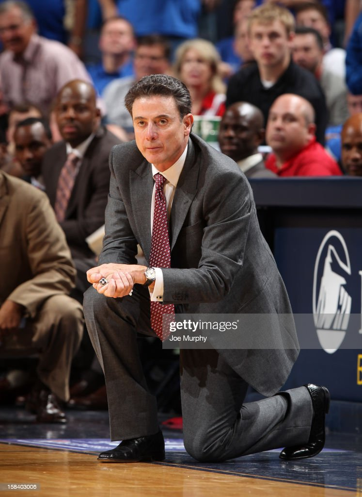Rick Pitino, head coach of the Louisville Cardinals watches the action against the Memphis Tigers on December 15, 2012 at FedExForum in Memphis, Tennessee.