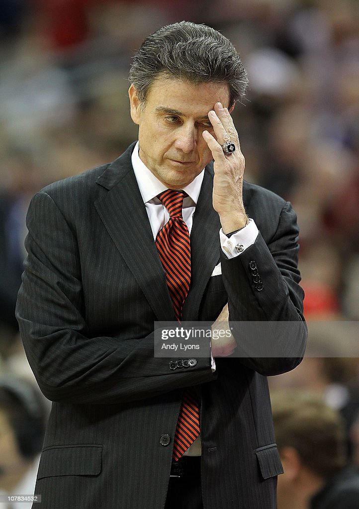 Rick Pitino the Head Coach of the Louisville Cardinals reacts to a turnover during the game against the Kentucky Wildcats at the KFC Yum! Center on December 31, 2010 in Louisville, Kentucky. Kentucky won 78-63.