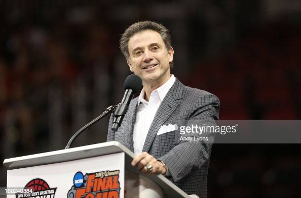 Rick Pitino the head coach of the Louisville Cardinals talks during the Louisville Cardinals NCAA Basketball Celebration to mark the NCAA...