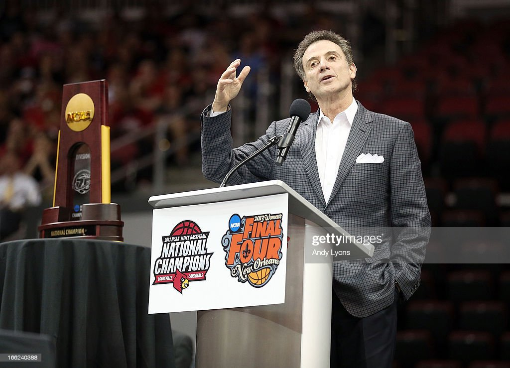 Rick Pitino the head coach of the Louisville Cardinals talks during the Louisville Cardinals NCAA Basketball Celebration to mark the NCAA championship by the Mens team and the runner-up finish by the womens team at KFC YUM! Center on April 10, 2013 in Louisville, Kentucky.